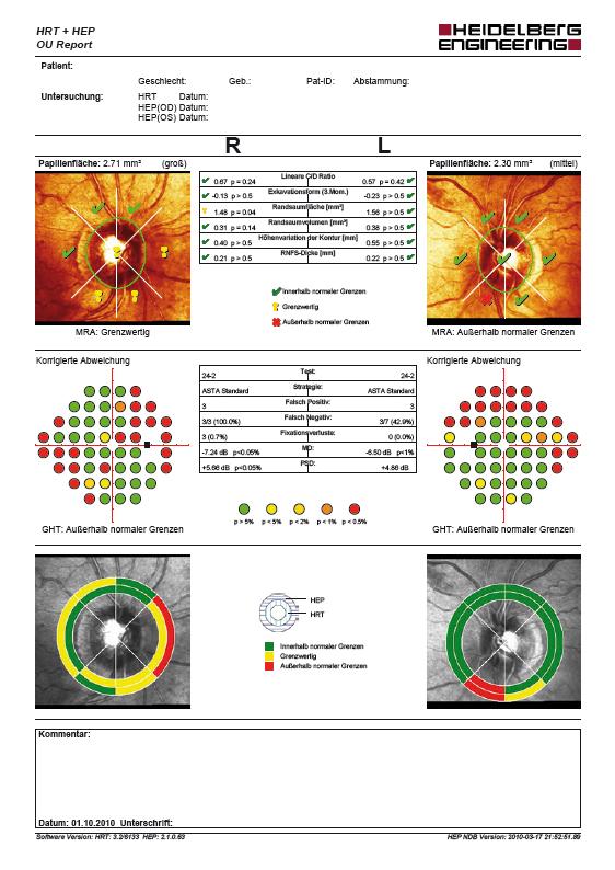 HRT & HEP Struktur-Funktions-Befundausdruck
